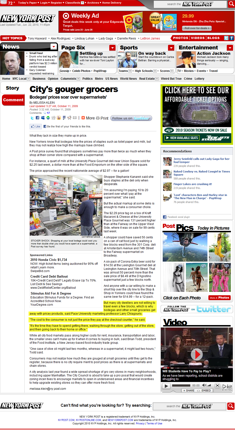 New York Post- City's Gouger Grocers